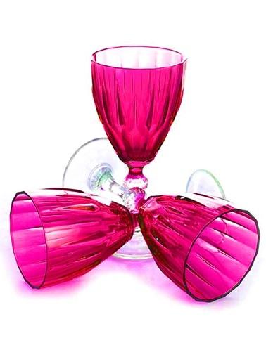 6 Lı Dıamond Şarap Kadehi Fuşya-Joy Glass